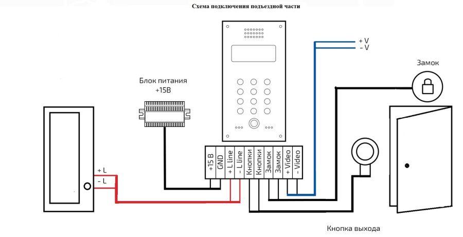 схема подлючения квартирного домофона