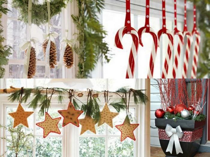 Украшение двери снежинками и декоративными мобилями