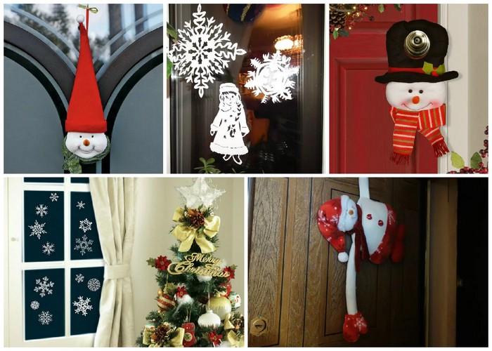 украсить дверь на новый год своими руками