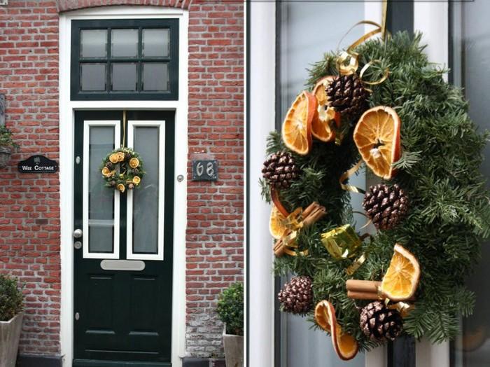 украшение двери венком из цитрусовых